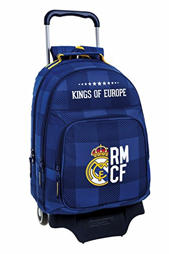 Real-Madrid-FC-Mochila-grande-doble-con-ruedas-Blue