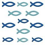 FEPITO 72 Stücke Holz Deko Fische Deko Taufe Junge Tischdeko Taufe Junge Konfirmation Deko Fisch Streudeko Verzierung für Taufe, Kommunion und Konfirmation- Blau (Blau, 72 Pcs)