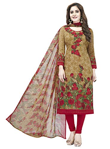 Ishin Synthetic Beige & Pink Printed Women\'s Unstitched Salwar Suits dress material with Dupatta