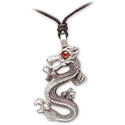Zoelibat 97208841.112-Gothic Punk Colgante, dragón Chino, Piedra, 4.5x 3cm, Color Rojo
