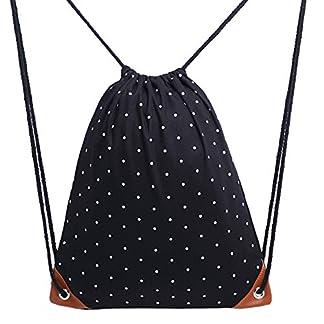 Sungpunet Mochila con cordón de lona con patrón de lunares blancos, bolsa de deporte para gimnasio, bolsa de almacenamiento con cordón para la escuela, viajes al aire libre (negro)
