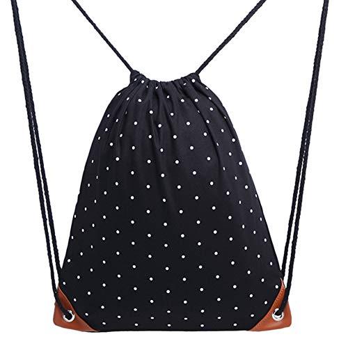 Sungpunet Mochila con cordón de lona con patrón de lunares blancos, bolsa de deporte para gimnasio...