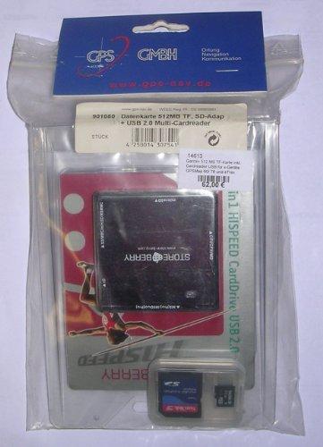 Garmin Datenkarte 512MB TF, SD-Adapt. + USB 2.0 Multi-Cardreader Garmin Datenkarte