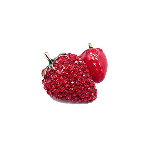 CAOLATOR Retro Brooch Damen Rot Brosche Kristall Erdbeeren Broschen Frauen Nadel Anstecker Anstecknadeln Geschenk Schmuck mit Strassteinen für Kleidung/Schals/Tücher/Ponchos/Hochzeit