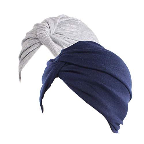 Frauen Baumwolle Beanie Chemo Hut Slouchy Soft Turban Headwear Kopf Wrap Cap für Haarausfall 2 Stücke