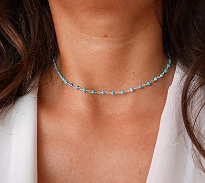 Collier choker fin ras du cou bleu - Collier court chapelet - chaîne en argent 925 - pierres Turquoise - collier chaîne de pierres