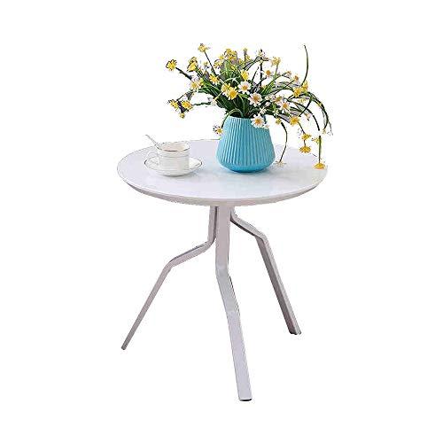 Desk Xiaolin Petite Table Ronde Table Basse en MDF Table d'appoint de Salon Table d'appoint de Balcon 50 * 50cm (Couleur : Blanc)