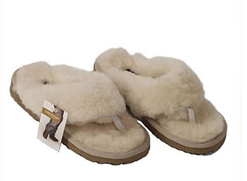 c52a8195ca3 Ladies Toe-Post Flipflop Style Sheepskin Slipper - Size 6 39.