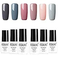 Rosalidn Esmalte Semi Permanente Para Uñas Kit 6pcslot Color Desnudo Uv Gel Polish Manicura Set 7ml