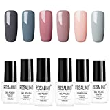 ROSALIDN esmalte semi-permanente para uñas kit, 6pcs/lot Color desnudo uv gel polish manicura set, 7ml