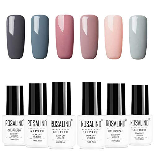 ROSALIDN esmalte semi-permanente para uñas kit, 6pcs/lot Color desnudo uv gel polish manicura set...