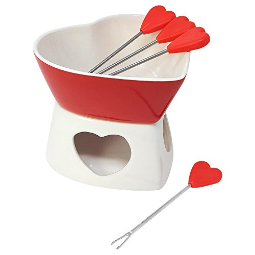 COM-FOUR® Fondue-Set aus Keramik in Herz-Form