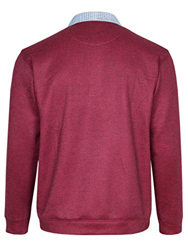 MIAN-MODE Warme Herren Polohemden, Pullover mit Kariertem Kragen in Melierter Optik Bordeaux