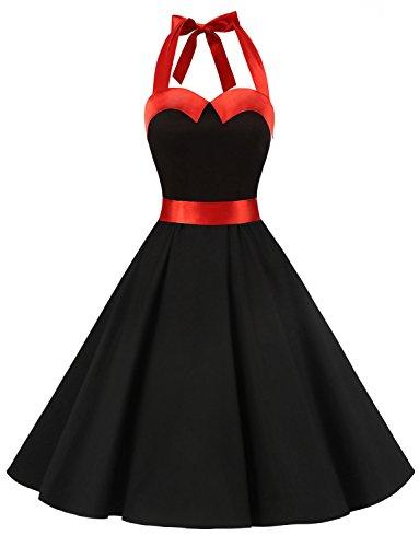 Dressystar DS1957 Robe de Bal Polka Vintage pin-up à 'Audrey Hepburn' 50's 60's Rockabilly Halter,Dos Nu, Noir et Rouge XS