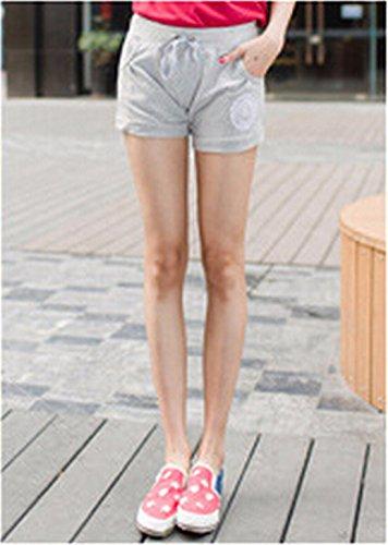 QIYUN.Z Femmes Occasionnels Pantalons Courts Bonbons Taille Des Sports De Glisse De Cordon Plage De Surf Short Gris