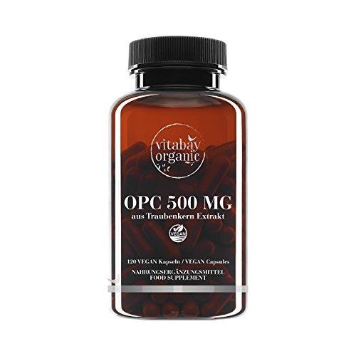 OPC 500 mg Hochdosiert - aus Traubenkernextrakt - 120 Vegane Kapseln