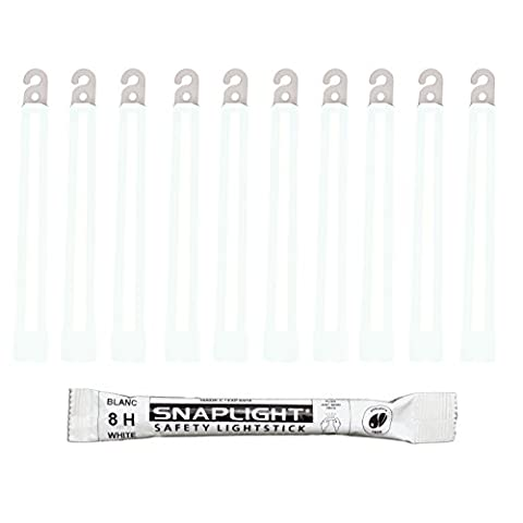 Cyalume SnapLight White Glow Sticks – 6 Inch Industrial Grade, Ultra Bright Light Sticks with 8 Hour Duration (Pack of 10) - Sport e all'aperto Attrezzature per attività all'aperto