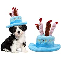 TickTocking Sombrero de cumpleaños para Mascota, Lindo Sombrero de cumpleaños para Perro con diseño de Tartas y Velas para Gatos y Cachorros Accesorio de Fiesta