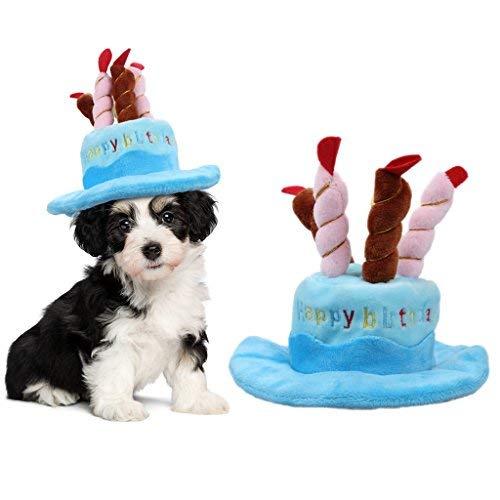 OWUDE Haustier Geburtstag Hut, Cute Dog Geburtstag Hut mit Kuchen & Kerzen Design für Katzen und Welpen Party Kostüm Zubehör (blau) (Katze Im Hut Dog Kostüm)