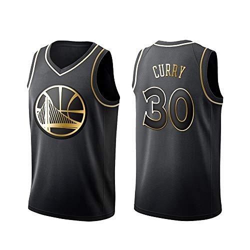 Golden State Warriors Stephen Curry # 30 Trikot - Klassisches ärmelloses Set, Basketball für Männer und Unisex Basket Anzug T-Shirt Genähte Buchstaben Schwarz-S