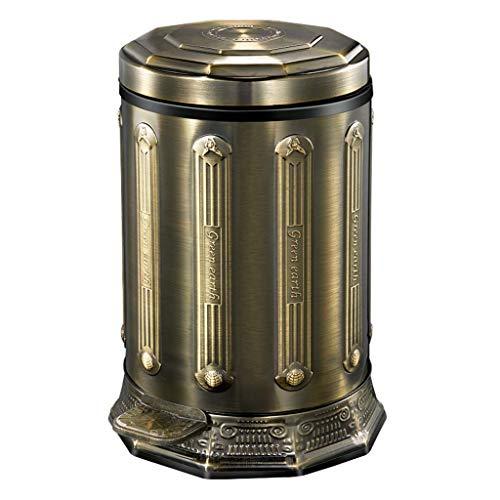 Trash can Edelstahl Mülleimer Pedal Mülleimer Mülleimer Retro Europäischen Hause Kreative Wohnzimmer Badezimmer Schlafzimmer Bronze 1-10L 5l Retro-pedal-bin