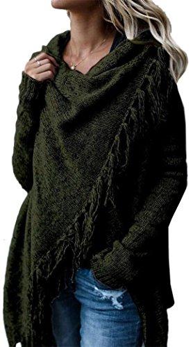 Yeesea Donna Maniche Lunghe Maglieria Maglione Maglioni Maglia Camicetta Blusa Asimmetrica Casual Elegante Cardigan Nappe Verde
