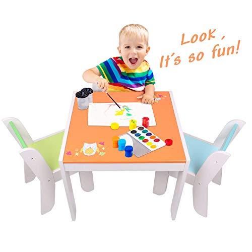 ☝ labebe mobili bambini di tavolo bambino di gufo arancione, set tavolino bambino legno per 1-5 anni, tavolino legno bambino/tavolo gioco bambino/tavolino multiattivita legno/tavolino gioco bambino