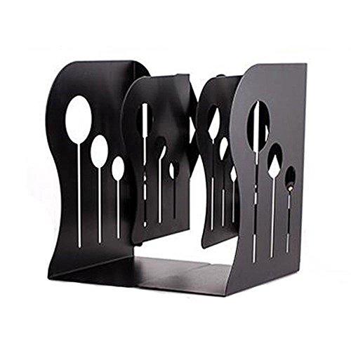 Buchstütze aus Metall, ausdehnbar, verstellbar, rutschfest, für Schreibtisch, Bibliothek, Schule, Büro 19.7 inches Schwarz