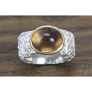Breiter Ring aus Silber 925/- mit Rauchquarz in Roségoldfassung, Zerknittert