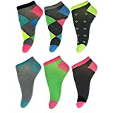 Damen 6-Pack Assorted No Show Socken - Argyle Neon Tipps 66091