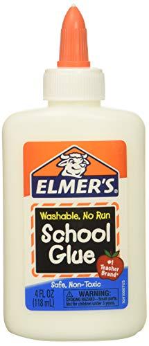(120ml Bottle, 4 Pack, White) - Elmers Washable No-Run School Glue, 120ml, 4 bottles (E304) -