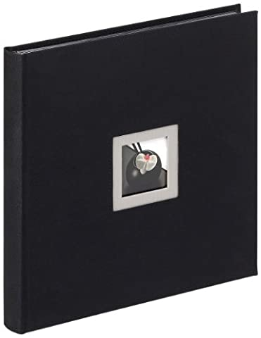 walther design FA-217-B Black & White linen cover, book bound album with die cut for your personal picture, 11.75 x 11.75 inch (30 x 30 cm), 50 black pages, black
