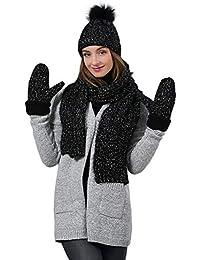 YR-R da Donna A Maglia Guanti Sciarpa Cappello più Velluto Tre Pezzi  Addensare Warm c1e242891395