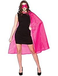 New Hot Pink Superhero Cape & Mask - Adult Accessory Adult - One Size