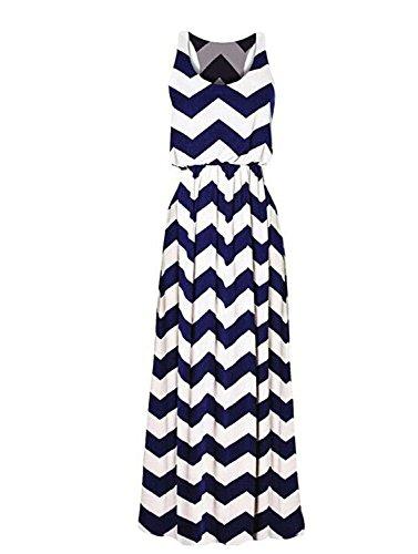 Zarlena Damen Kleid Maxikleid Sommerkleid C9-BLU-M (Welle Bandeau)