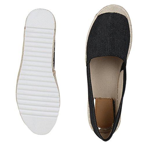 Damen Espadrilles Metallic Slipper Bast Profilsohle Flats Schuhe Schwarz Beige