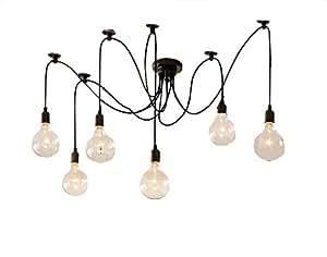 Lustres Adsled E27 Lumière de salle à manger rétro Net Spider Suspension Creative Bar Lampe à suspension style café-Pendentif Fée des ampoules de lampe (aucune)