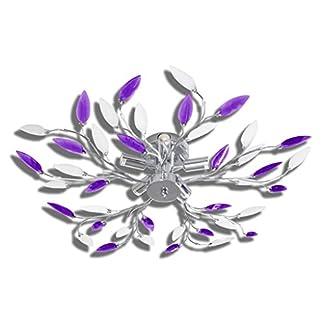 vidaXL Lampada da Soffitto Bianca e Viola con Cristalli Acrilici 5 E14
