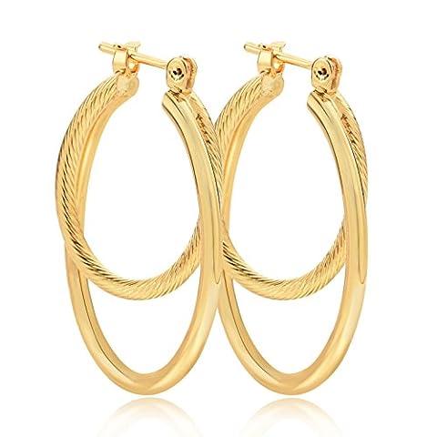 PAKSHO 9ct Gold 2 twist Ladies Hoop Earrings,Jewelry European Style