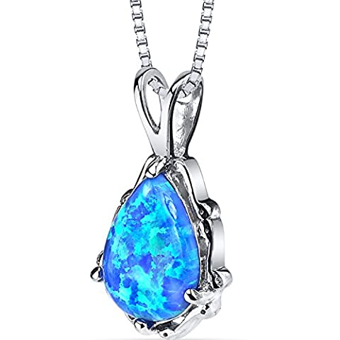 Revoni-Imperial Beauty : Pendentif en forme de poire pierre carreaux coupe Chaîne en argent Blue Green Opal