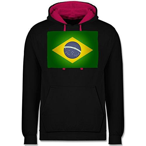 Länder - Flagge Brasilien - Kontrast Hoodie Schwarz/Fuchsia