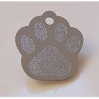 Paw Print Pet Tags - 25mm Wide - 9 Colours To Choose From, Free Engraving (Silver)