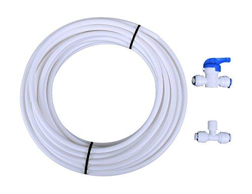 RO Trinkwasser Filtration System Tube Kit, 32,8Ft Länge Schlauch & 3Wege Tee geformte Connect & gerade Push In Quick Tube Connect mit ungiftigen, non-fouling Schicht (1/10,2cm) -