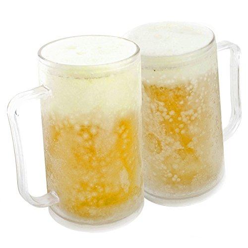 Jarra de cerveza para congelación: Frozen taza para helado Eiskrug 0,4 litro 400 ml vaso de precipitados de refrigeración con batería refrigeradora