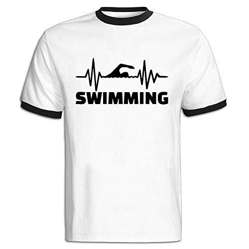 3db1ffa9 FFMMdog Men's O-Neck Heartbeat Swimmer Short-Sleeve T-Shirts Color Block  Tops