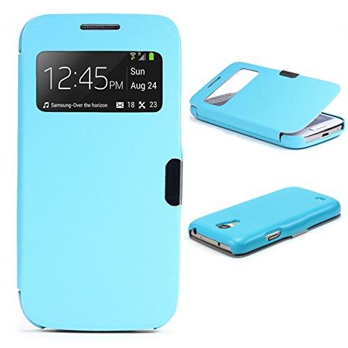 Urcover® View Case Handy Schutz-Hülle | Samsung Galaxy S4 Mini | Hart Kunststoff Hell Blau | Elegant Wallet Cover Sicht-Fenster | leichte Schale dünne Tasche (Entsperrt Samsung Galaxy Für&t)