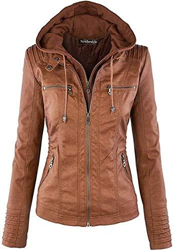 Newbestyle Jacke Damen Lederjacke Frauen mit Zip V Ausschnitt Kunstleder Bikerjacke Jacket Casual Übergangsjacke (Normale EU-Größe), Braun, S/38
