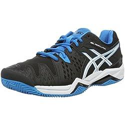Asics Resolution 6 Clay, Zapatillas de Tenis Hombre, Negro (Black/Blue Jewel/White), 40 EU