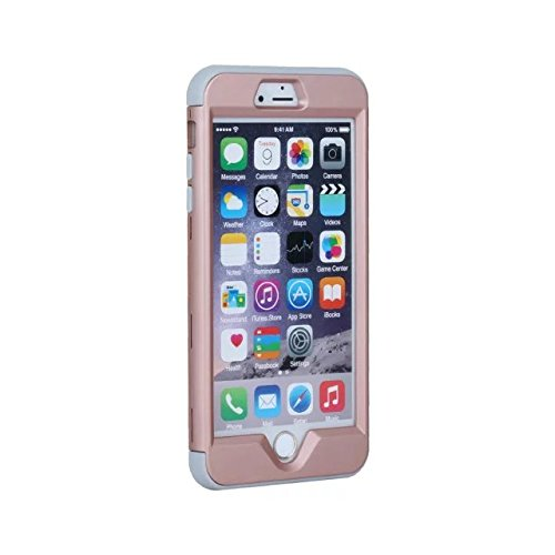 iPhone 6 Hülle,iPhone 6S Hülle,Lantier 3 in 1 Combo Slim Matt Matt Finish Design Shockproof Hybrid Dual Layer Hartschalenetui für Apple iPhone 6/6S 4.7 inch Schwarz Rose Gold+Grey