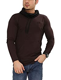 Tees Collection Men's Cotton Full Sleeve Brown Color Hooded T-Shirt